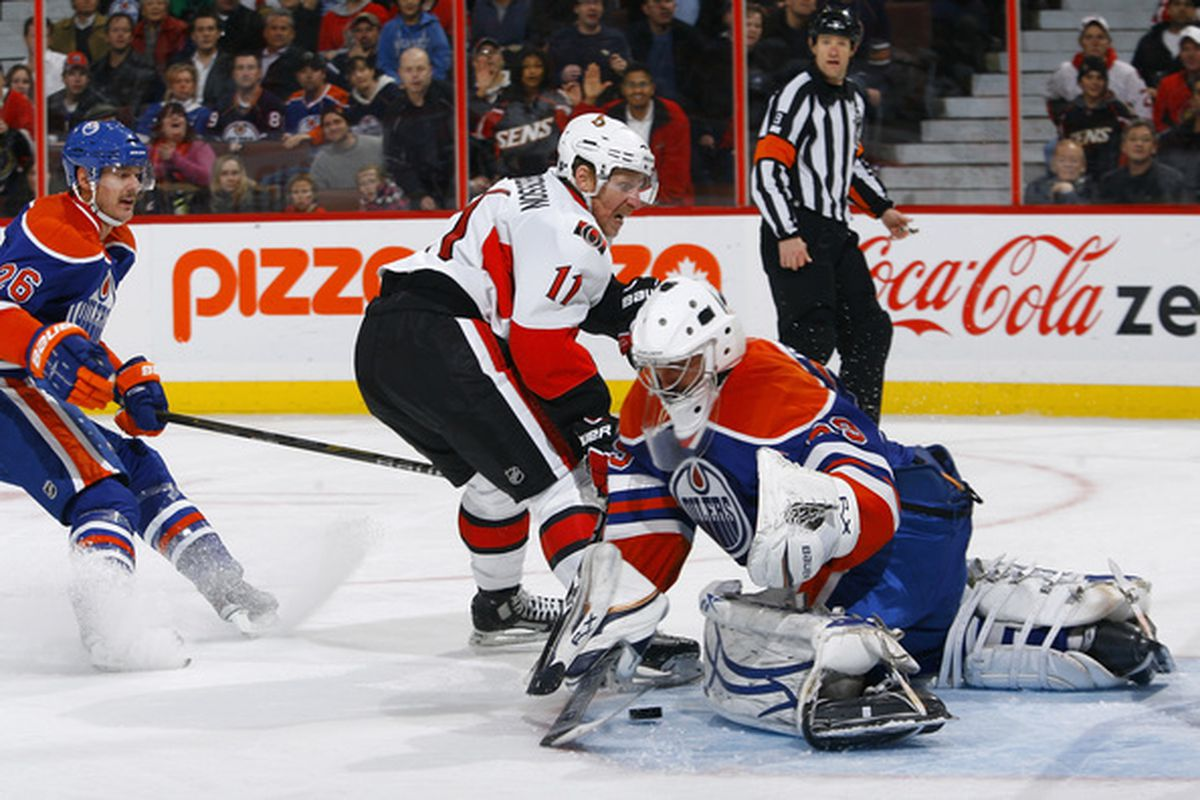 The Oilers have been generating chances, but there's been a lot more rubber floating toward their goal than what's been flying at the opposition.