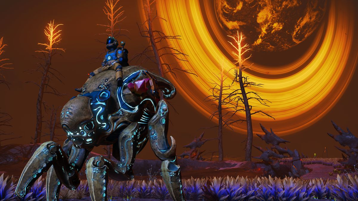 A player rides a bug-like companion pet in No Man's Sky