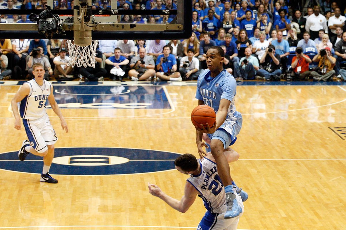 John Henson jumps over Miles Plumlee as he drives to the basket during their game at Cameron Indoor Stadium.