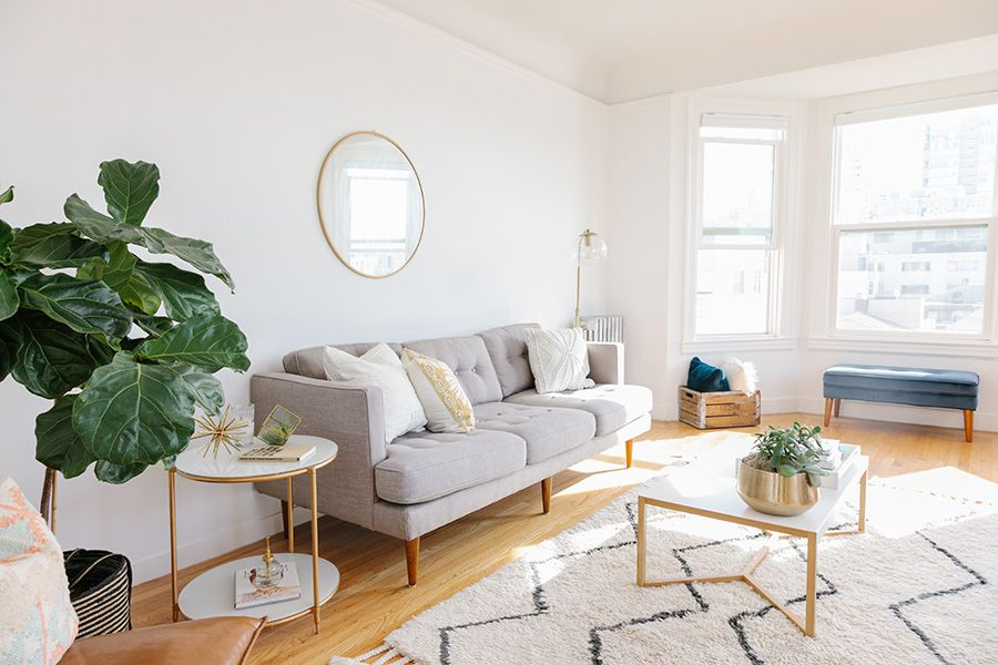 Large, white, bright, furnished apartment living room