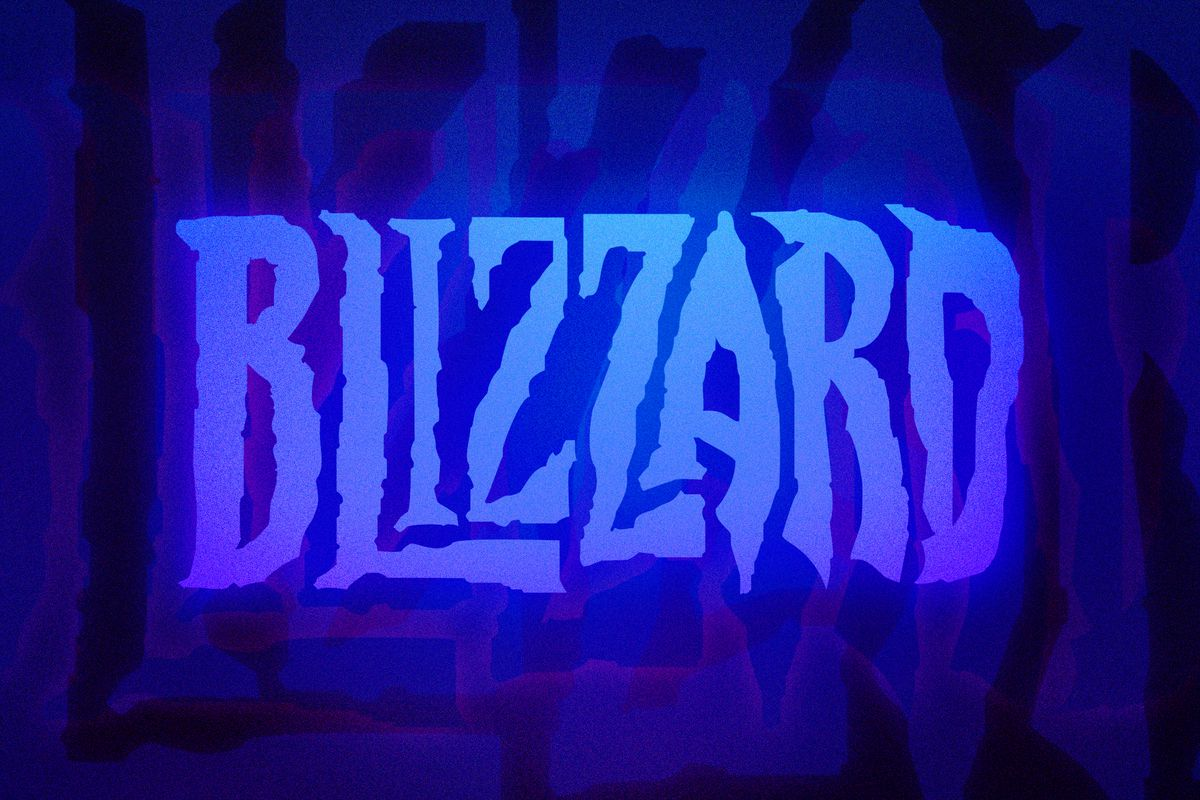 Graphic of the Blizzard logo on a glowing blue background