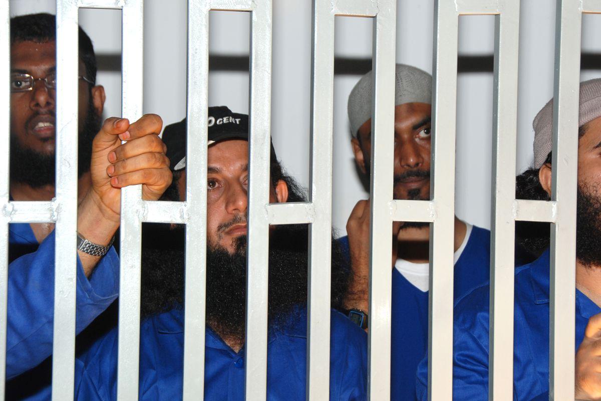Suspected al-Qaeda members behind bars in al Mukalla in 2010.