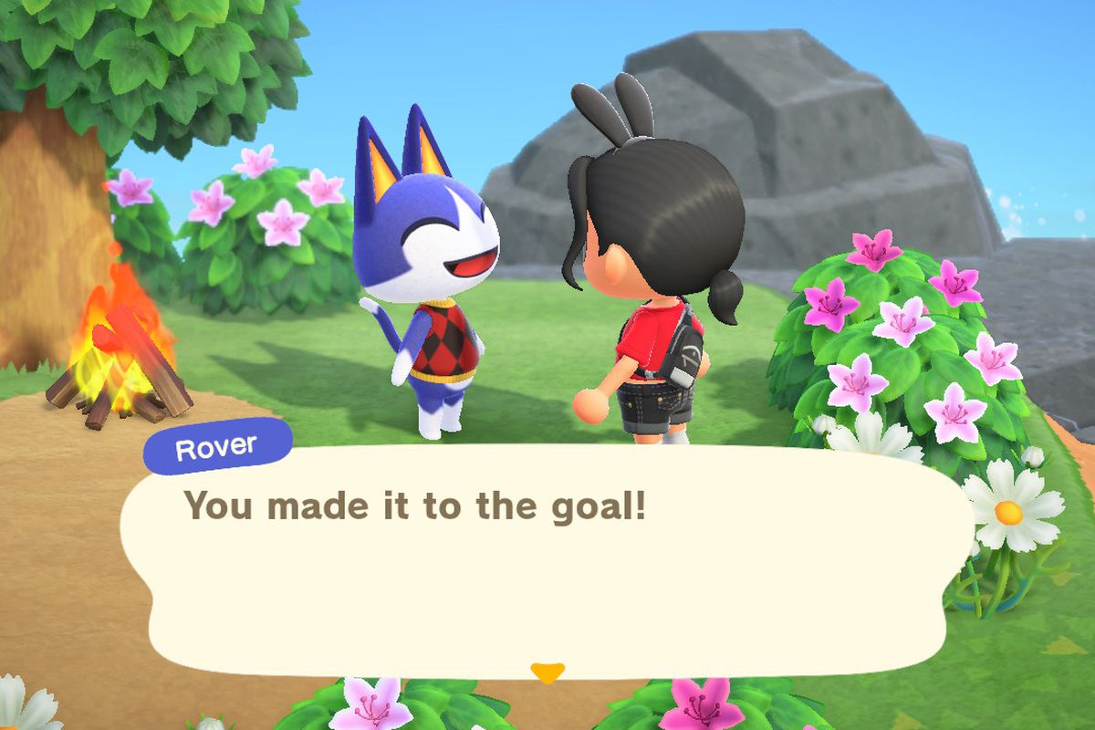 An Animal Crossing character talks to a very excited cat named Rover