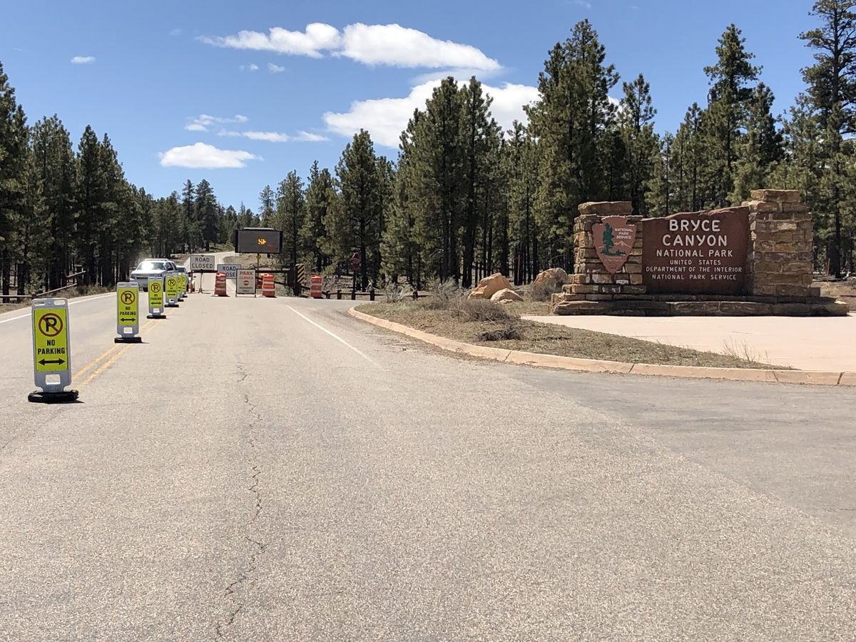 The entrance to Bryce National Park, was closed due to the COVID-19 outbreak Thursday, April 15, 2020.