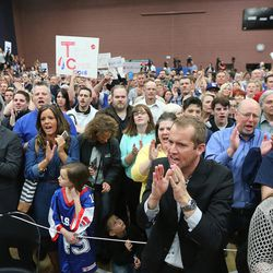 Crowd members cheer as they attend a rally with GOP presidential candidate Ted Cruz, Carly Fiornia and Glenn Beck in Draper at the American Preparatory Academy Saturday, March 19, 2016.
