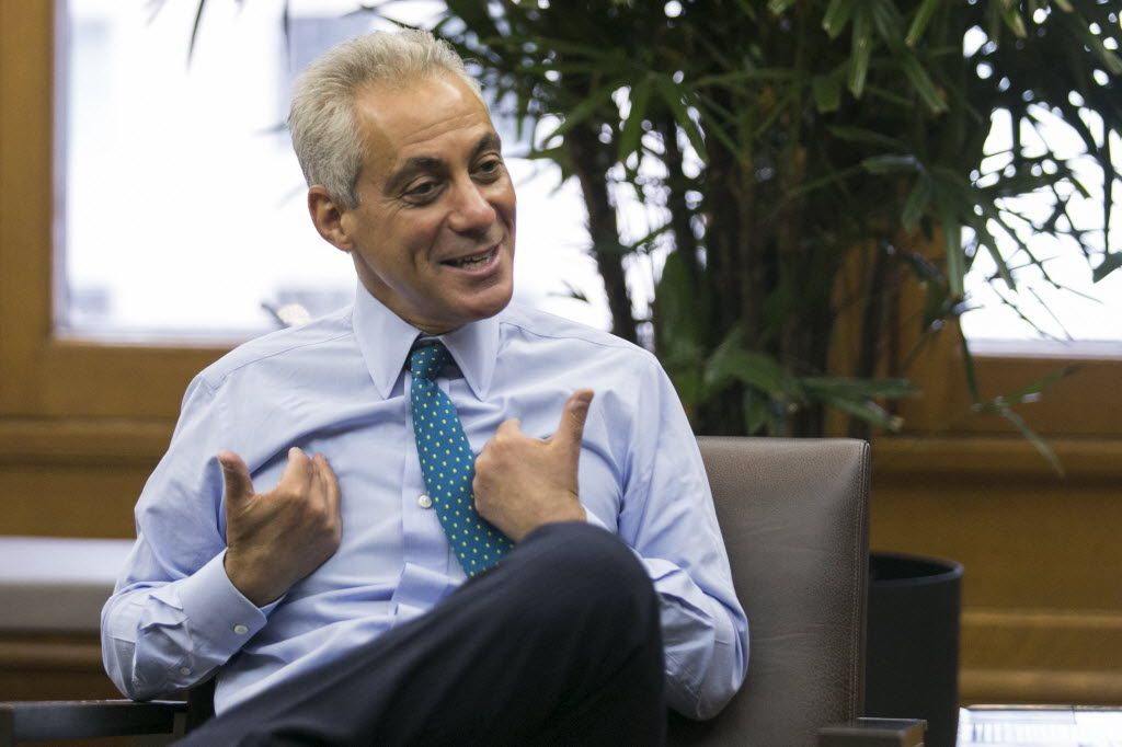 Mayor Rahm Emanuel in his office at City Hall. | Ashlee Rezin / Sun-Times