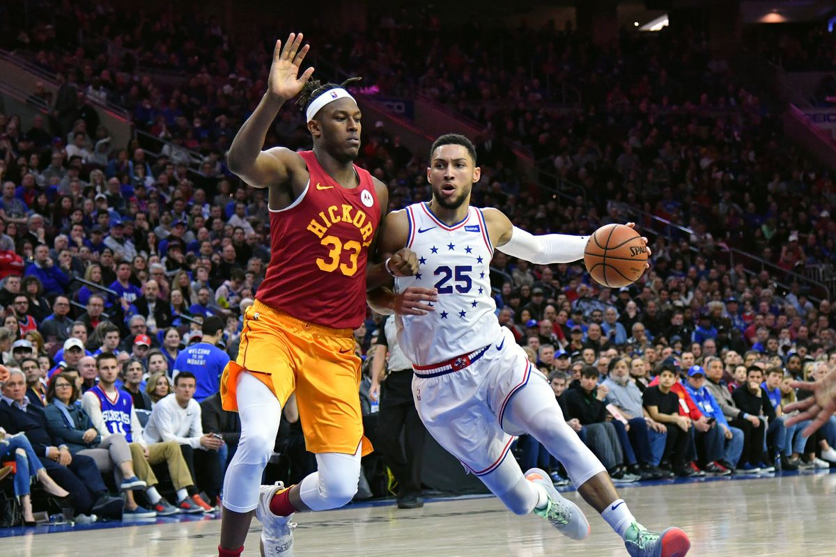 Philadelphia 76ers guard Ben Simmons drives to the basket against Indiana Pacers center Myles Turner during the third quarter at Wells Fargo Center.