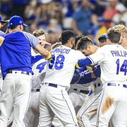 The Royals celebrate a walk-off home run from Whit Merrifield against the Orioles.