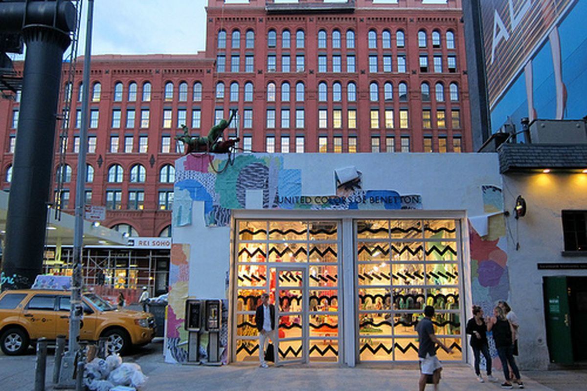 """The Benetton pop-up via <a href=""""http://www.flickr.com/photos/scottlynchnyc/7941289268/in/pool-rackedny"""">Scoboco</a>/Racked Flickr Pool. Want to contribute? Join <a href=""""http://www.flickr.com/groups/rackedny/pool/with/7948364214/#photo_7948364214"""">"""