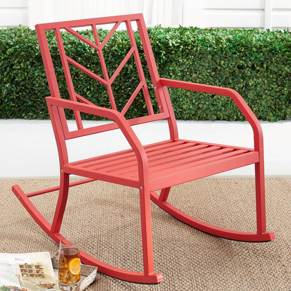Red rocking chair.