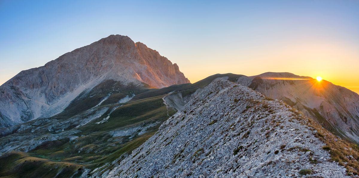 Corno Grande peak at sunrise