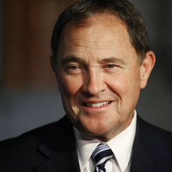 Gov. Gary R. Herbert talks with media outside the Governor's Mansion in Salt Lake City on Tuesday, June 28, 2016.