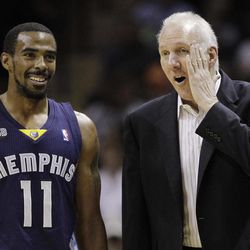 San Antonio Spurs coach Gregg Popovich, right, talks with Memphis Grizzlies' Mike Conley (11) during the first quarter of an NBA basketball game on Thursday, April 12, 2012, in San Antonio.