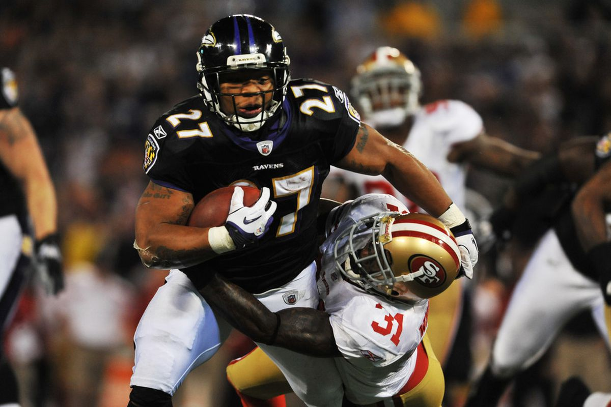 BALTIMORE - NOVEMBER 24:  Ray Rice #27 of the Baltimore Ravens runs the ball against the San Francisco 49ers at M&T Bank Stadium on November 24. 2011 in Baltimore, Maryland. The Ravens defeated the 49ers 16-6. (Photo by Larry French/Getty Images)