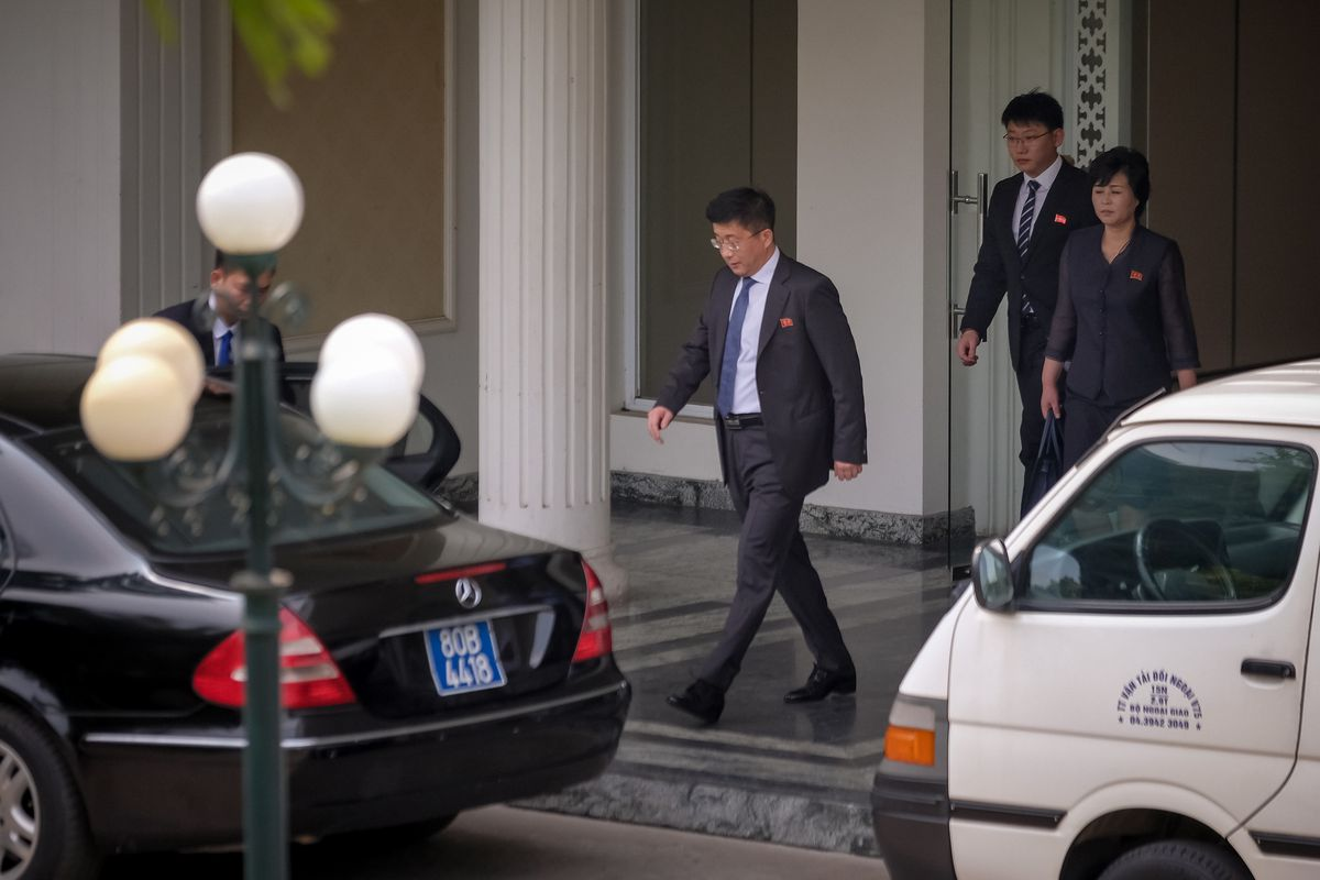 Kim Hyok Chol, in the center with the blue tie, seen leaving the Government Guest House of Vietnam on February 21, 2019 in Hanoi, Vietnam.