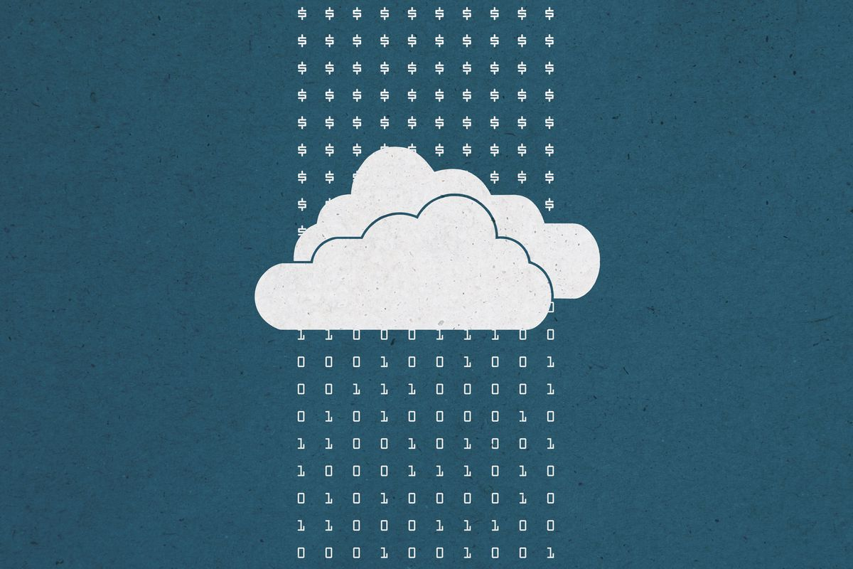 Illustration of money feeding into a cloud and 1s and zeroes coming out