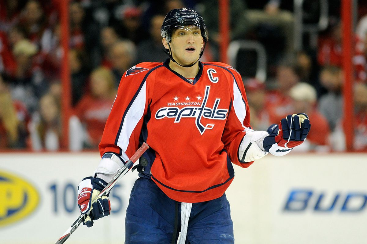 WASHINGTON, DC - FEBRUARY 09:  Alex Ovechkin #8 of the Washington Capitals reacts to a call during the game against the Winnipeg Jets at the Verizon Center on February 9, 2012 in Washington, DC.  (Photo by Greg Fiume/Getty Images)