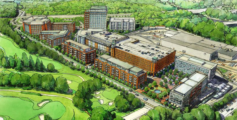 An aerial rendering of a multi-building project proposal.
