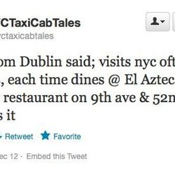 """Irish people <a href=""""https://twitter.com/nyctaxicabtales/status/282470878585966593"""">recommending</a> El Azteca."""
