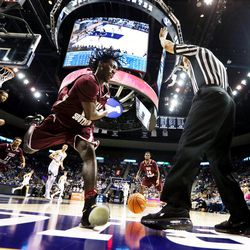 Texas Southern Tigers forward Derrick Griffin (23) chases down a loose ball as BYU and Texas Southern play an NCAA basketball game in Provo at the Marriott Center on Saturday, Dec. 23, 2017. BYU won 73-52.