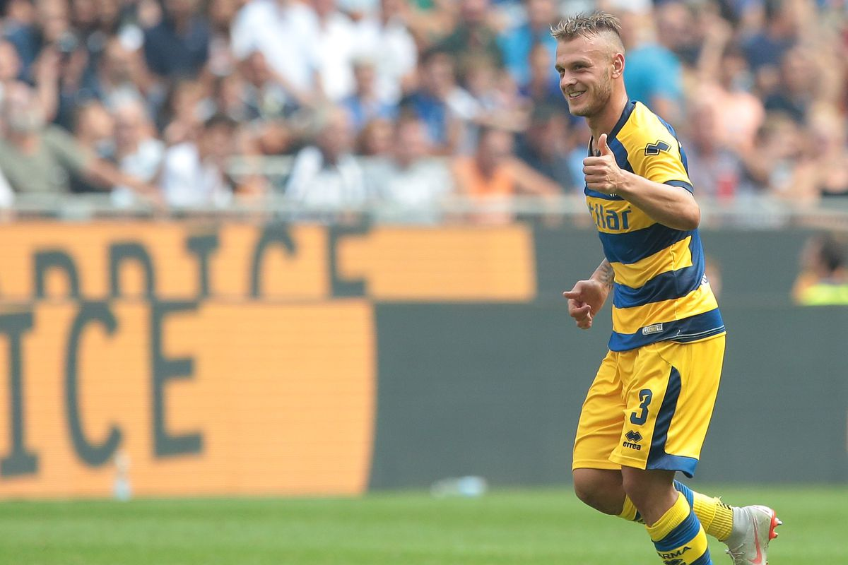Federico Dimarco Of Parma Calcio Celebrates After Scoring The Opening Goal During The Serie A Match Between Fc Internazionale And Parma Calcio At Stadio