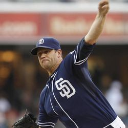 San Diego Padres starting pitcher Eric Stults works the first inning against the San Francisco Giants during a baseball game Saturday, Sept. 29, 2012, in San Diego.