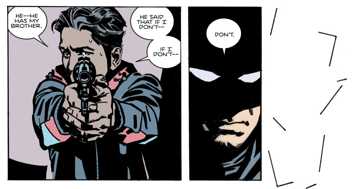 """""""He has my brother,"""" a young man says, pointing a gun at Batman, """"He said that if I don't—"""" """"Don't."""" says Batman. The borders of the next panel crumble, nothing but white inside and out of them, in Batman: Secret Files #3, DC Comics (2020)."""