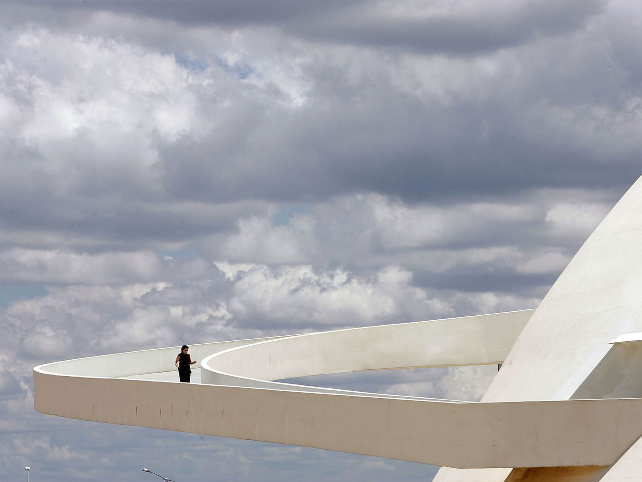 The ramp of Brasilia's National Museum, deigned by Brazilian architect Oscar Niemeyer.