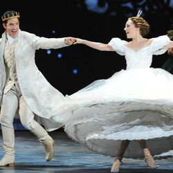 """Actress Laura Osnes, right, of Rodgers & Hammerstein's """"Cinderella"""" performs at the 67th Annual Tony Awards, on Sunday, June 9, 2013 in New York.  (Photo by Evan Agostini/Invision/AP)"""