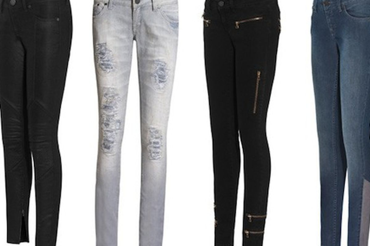 """We're not so sure about the calf panels on that pair on the right. Image via <a href=""""http://www.stylelist.com/2010/07/29/victoria-beckham-denim-fall-2010-jeans/"""">StyleList</a>."""
