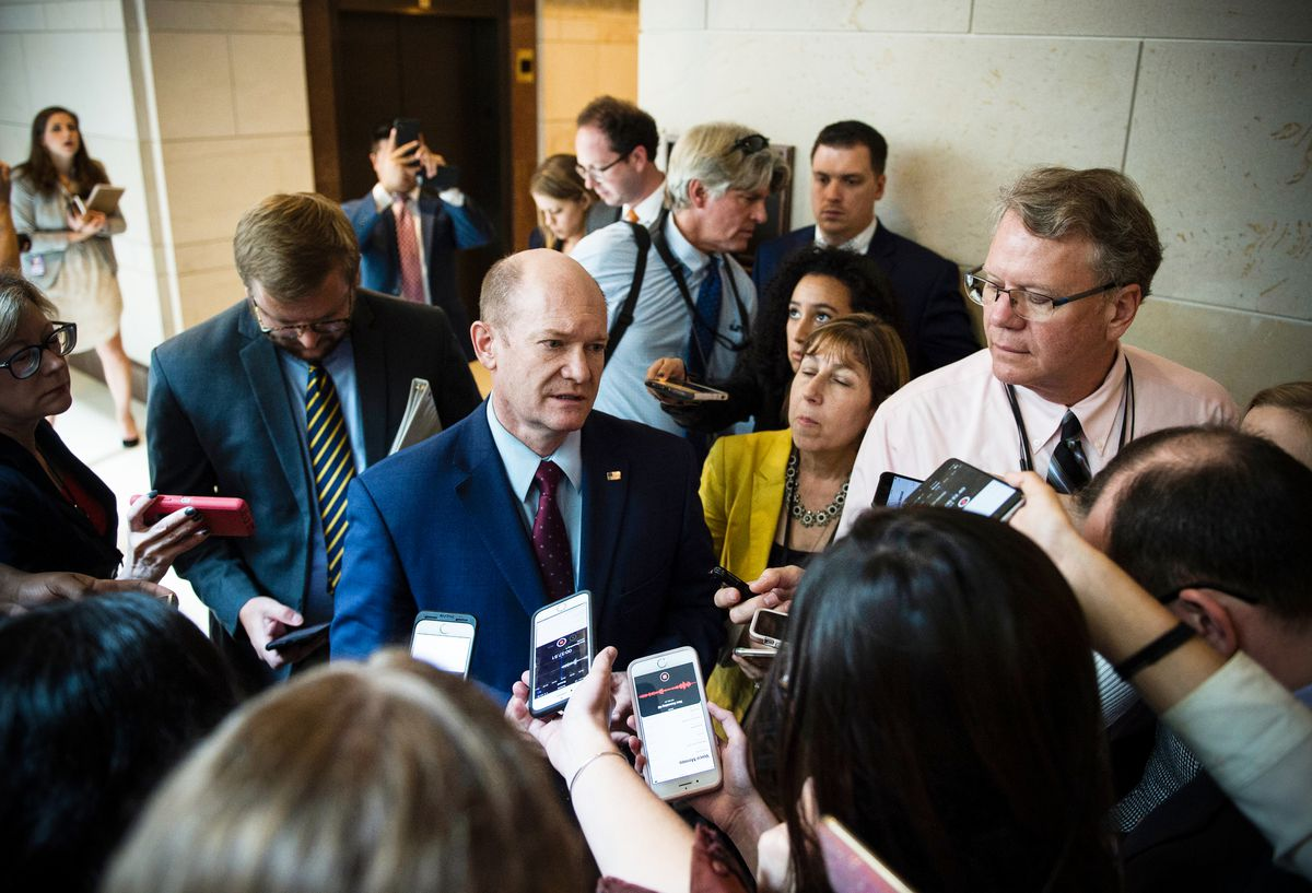 Sen. Chris Coons (D-DE) speaks to reporters after reading the report on the FBI investigation into Supreme Court nominee Brett Kavanaugh on October 4, 2018.