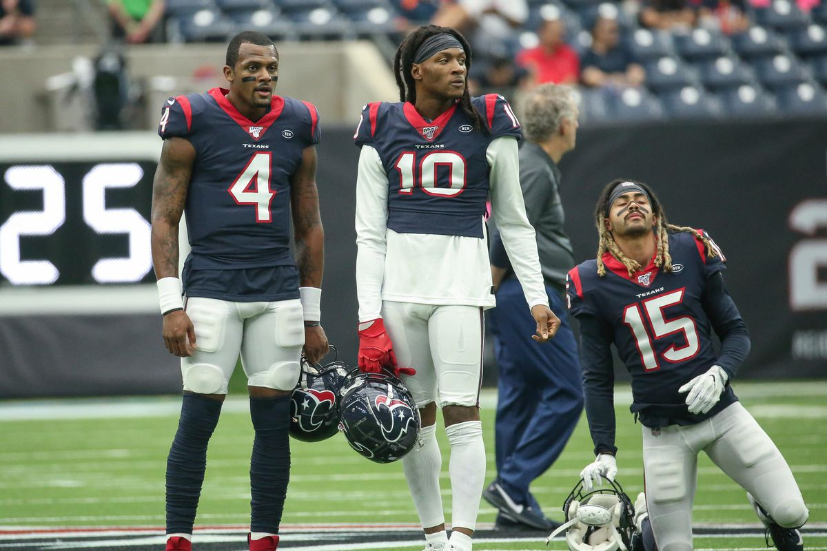Houston Texans quarterback Deshaun Watson and wide receiver DeAndre Hopkins and wide receiver Will Fuller before the game against the Atlanta Falcons at NRG Stadium.