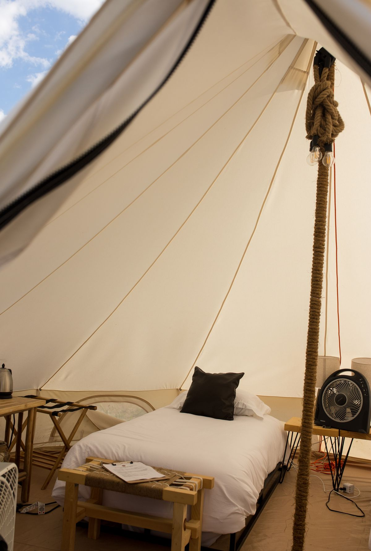 interior view of glamping tent twin bed