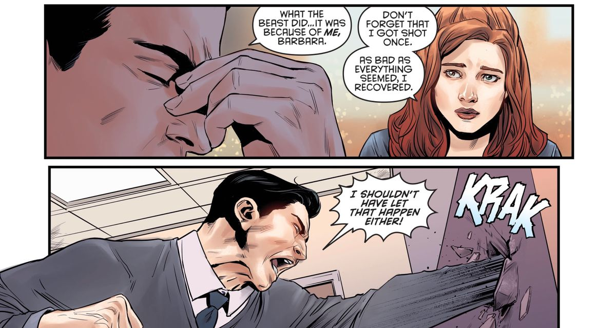 Bruce Wayne reacts poorly to finding out that Dick Grayson has amnesia, in Nightwing Annual #2, DC Comics (2019).
