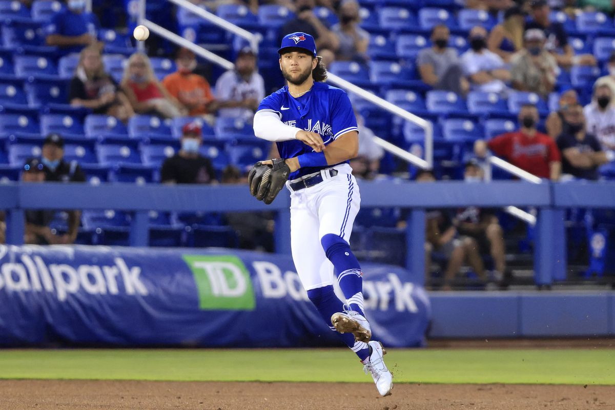 Bo Bichette #11 of the Toronto Blue Jays throws to first base in the third inning against the Atlanta Braves at TD Ballpark on April 30, 2021 in Dunedin, Florida.