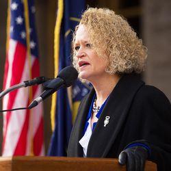 Salt Lake Mayor Jackie Biskupski speaks at a ceremony outside the City-County Building on Monday, Jan. 4, 2016.