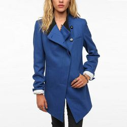 """<b>D Collection</b> Asymmetrical Rib Collar Wool Coat in blue, <a href=""""http://www.urbanoutfitters.com/urban/catalog/productdetail.jsp?id=24959017&parentid=W_OUTERWEAR#"""">$129</a> at Urban Outfitters"""