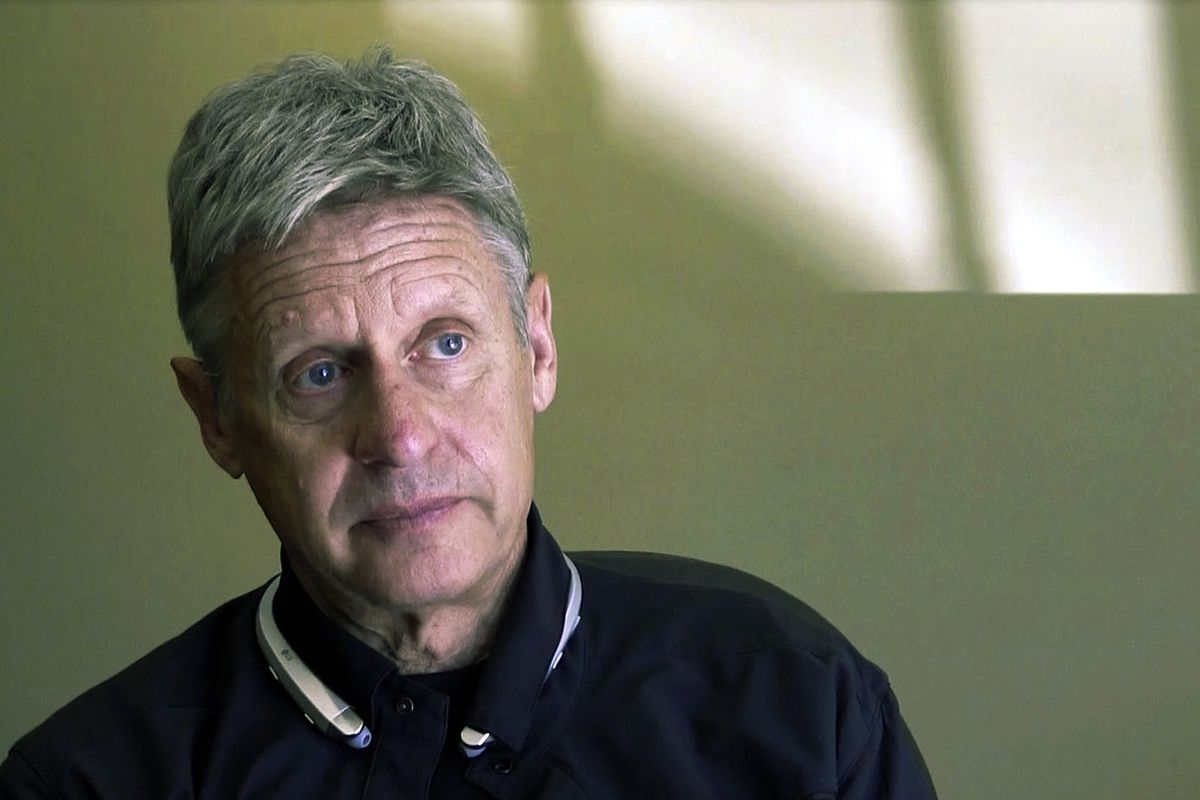 FILE - This Oct. 10, 2016 file photo taken from a video screen grab shows then-Libertarian presidential candidate and former New Mexico Gov. Gary Johnson being interviewed in Santa Fe, N.M. Johnson is considering jumping into the race for U.S. Senate in N
