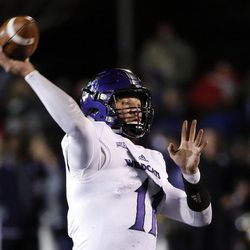 Weber State Wildcats quarterback Stefan Cantwell passes against the Southern Utah Thunderbirds during NCAA football in Cedar City on Saturday, Dec. 2, 2017.