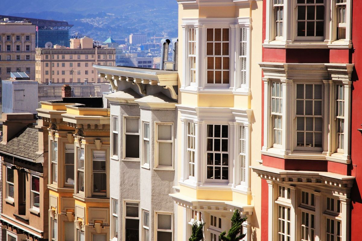 Rows of apartments on Nob Hill.