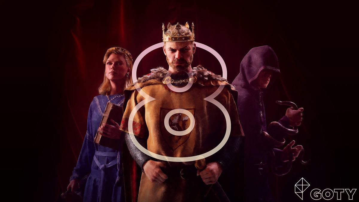 a screenshot from Crusader Kings 3 showing a king with a crown, and woman, and a monk with a snake — with a number 8 superimposed on it
