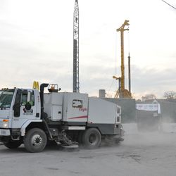 Street sweeping truck on Waveland near the triangle lot