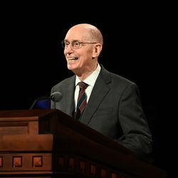 President Henry B. Eyring, second counselor in the First Presidency, speaks during the Sunday afternoon session of the 190th Semiannual General Conference of The Church of Jesus Christ of Latter-day Saints on Oct. 4, 2020.