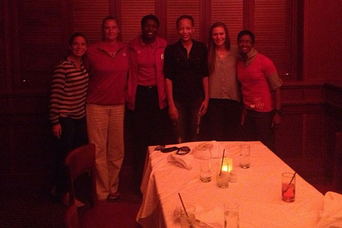 Cayla McMorris at dinner at Flemings with Wisconsin's coaches, her parents and Nicole Bauman (my host).