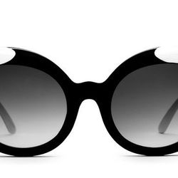 """Crap Eyewear Diamond Brunch sunglasses in Gloss Black/White Tips, <a href=""""http://www.crapeyewear.com/collections/all/products/the-diamond-brunch-gloss-black-white-tips-w-grey-lenses"""">$56</a>"""