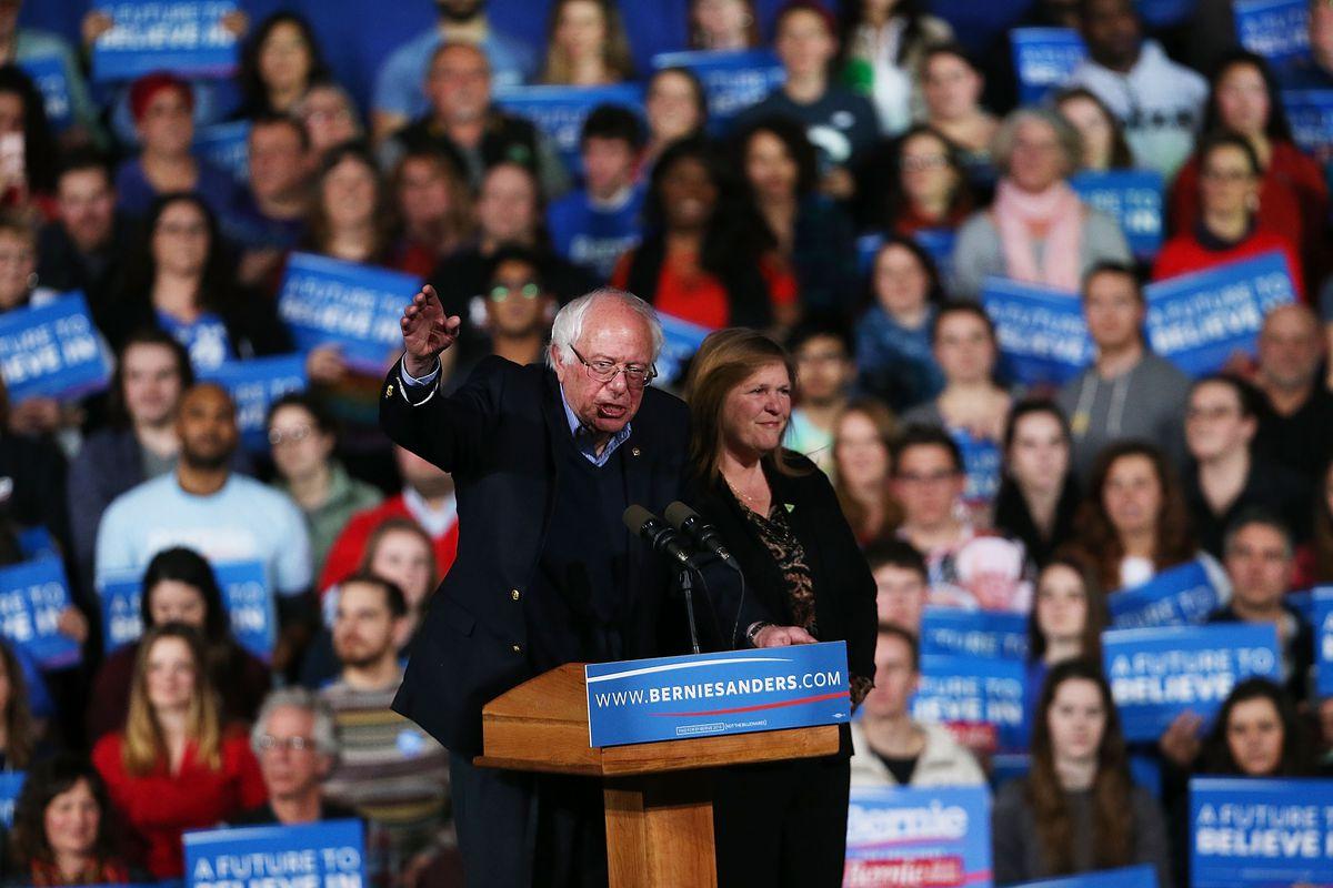 Bernie Sanders in Vermont on Super Tuesday.