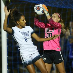 BYU Nadia Gomes (6) just misses a shot on goal as UNLV Jordan Sallee (00) makes the stop as BYU and UNLV play in the first round of the NCAA tournament in Provo on Friday, Nov. 11, 2016.