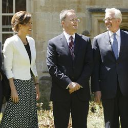 Philip Tootill, center, gives a tour to Elder D. Todd Christofferson, of the Quorum of the Twelve Apostles of The Church of Jesus Christ of Latter-day Saints, and his wife, Sister Katherine Christofferson, and Elder Patrick Kearon and his wife, Sister Jennifer Kearon, at Christ Church, Oxford University prior to speaking in Oxford, England, on Thursday, June 15, 2017.