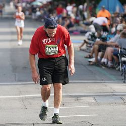 Jeffrey Garner competes in the Deseret News Half Marathon in Salt Lake City on Friday, July 23, 2021.