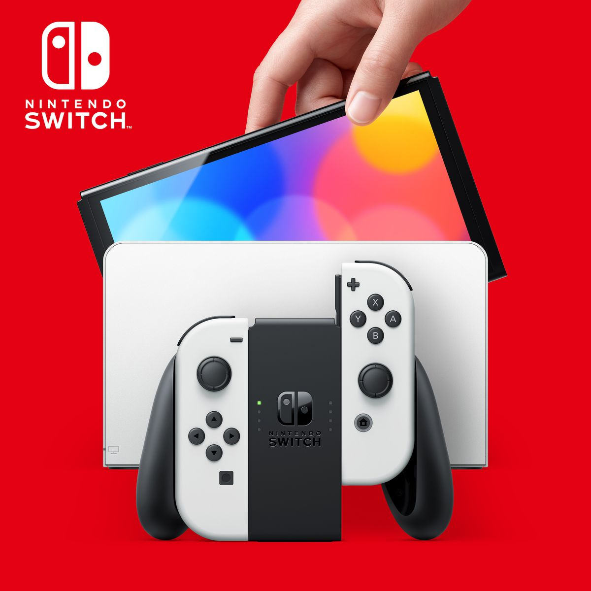 The new Nintendo Switch (OLED model) system and dock with white Joy-Cons
